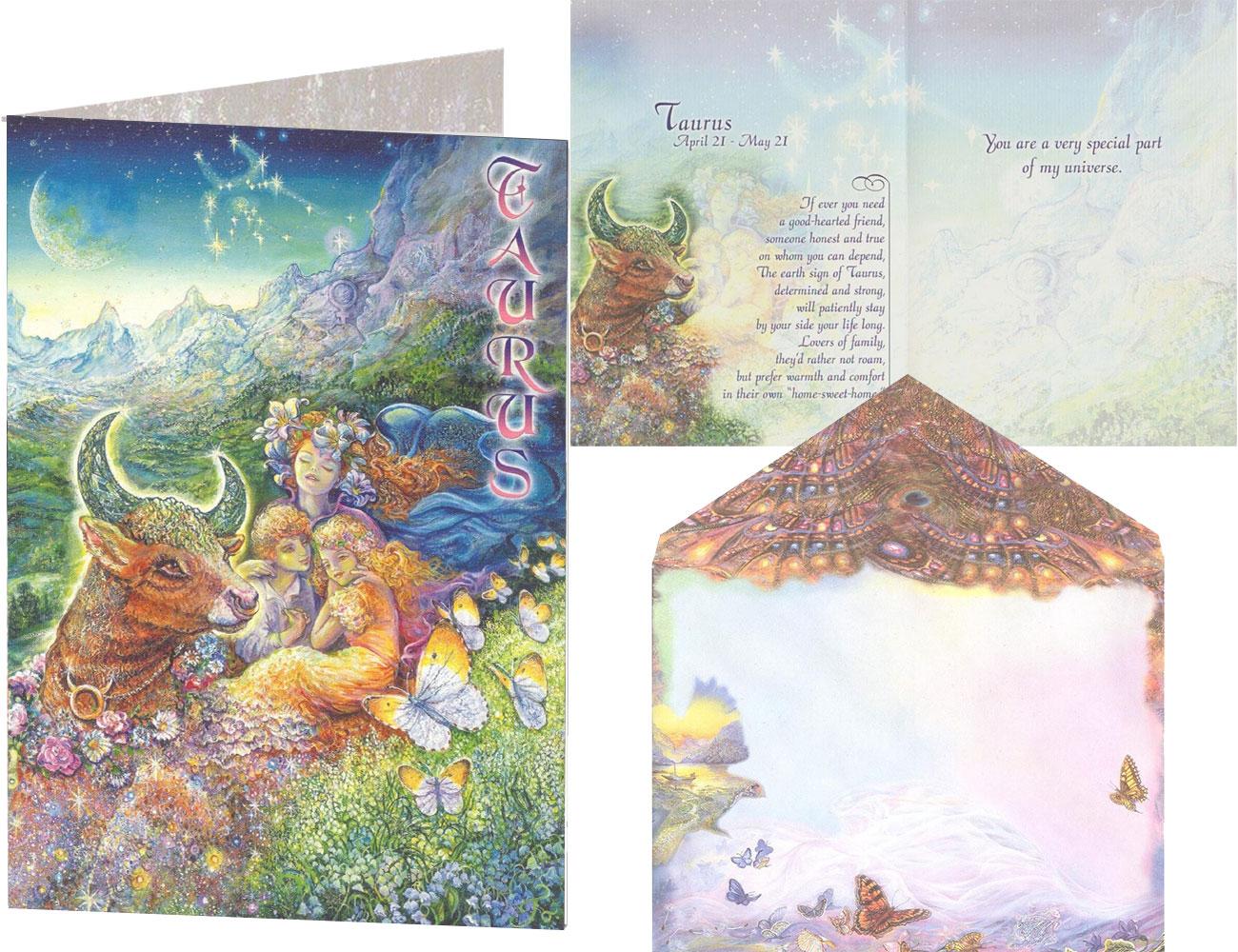 Taurus Zodiac card by Josephine Wall