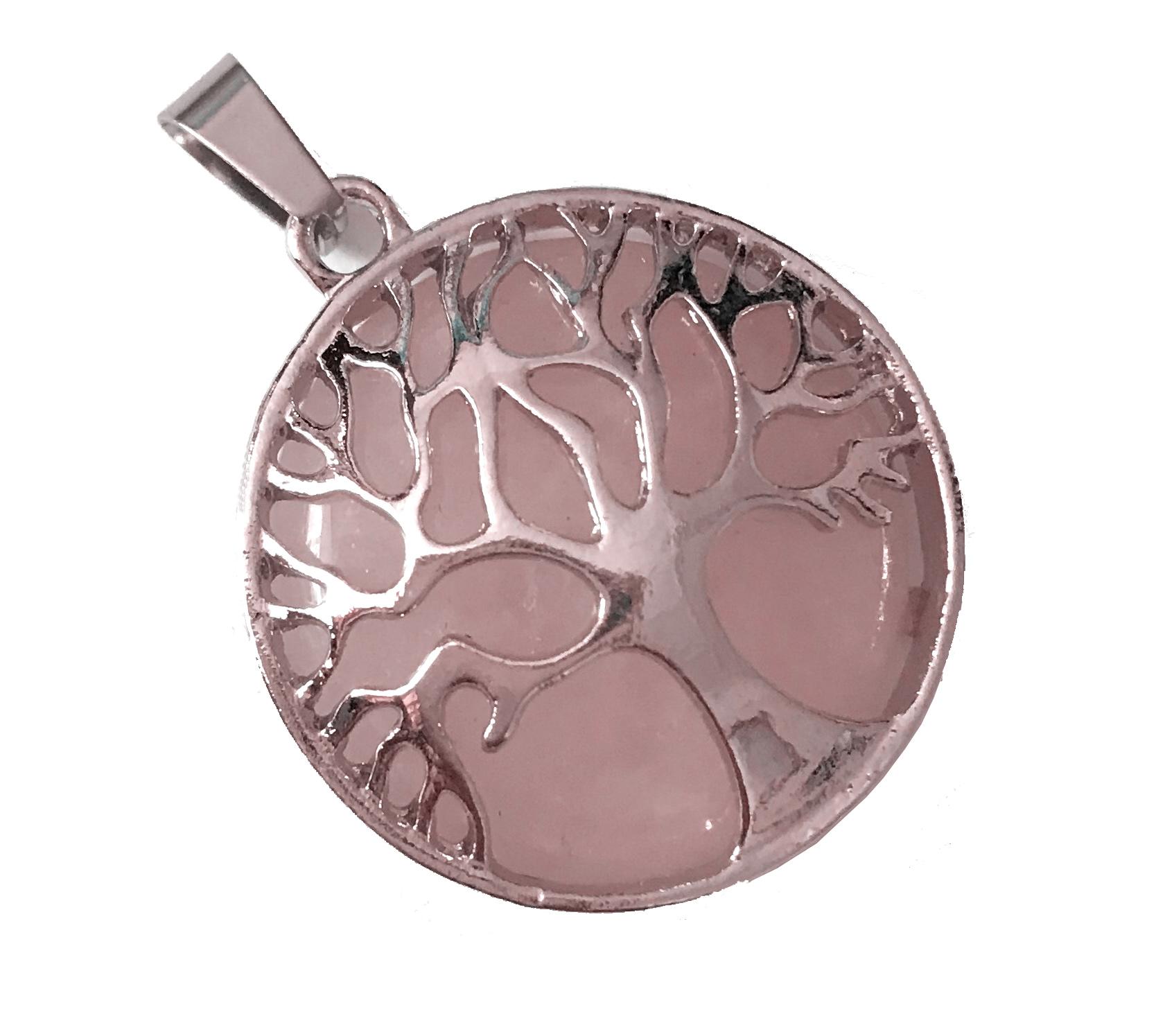 Rose quartz tree of life pendant