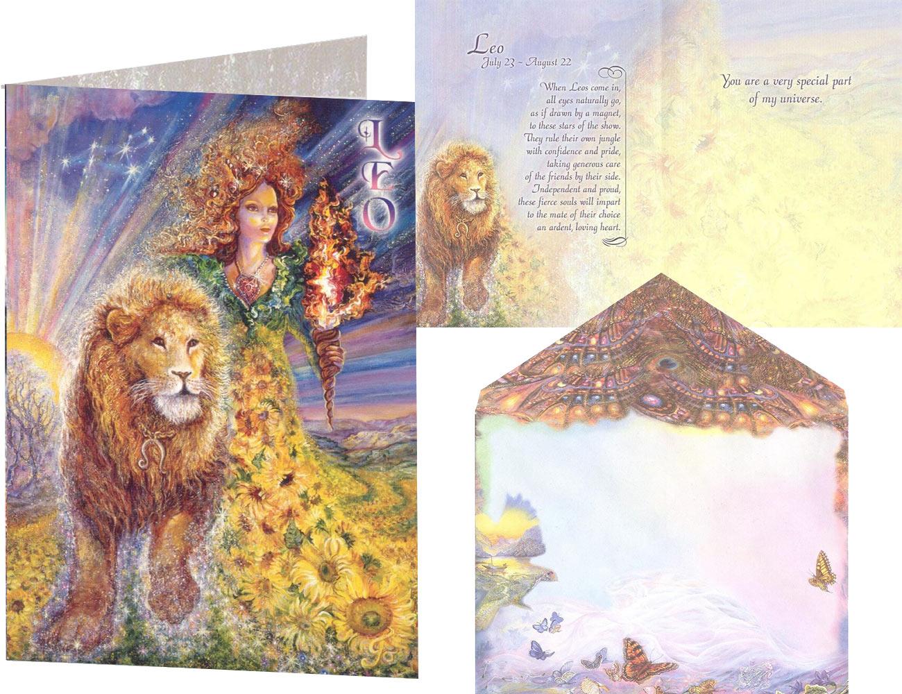 Leo Zodiac card by Josephine Wall